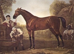 Painting of a standing next to two men, one of whom is holding the horse