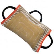 Грызак-подушка с 3 ручками, джут с кожей